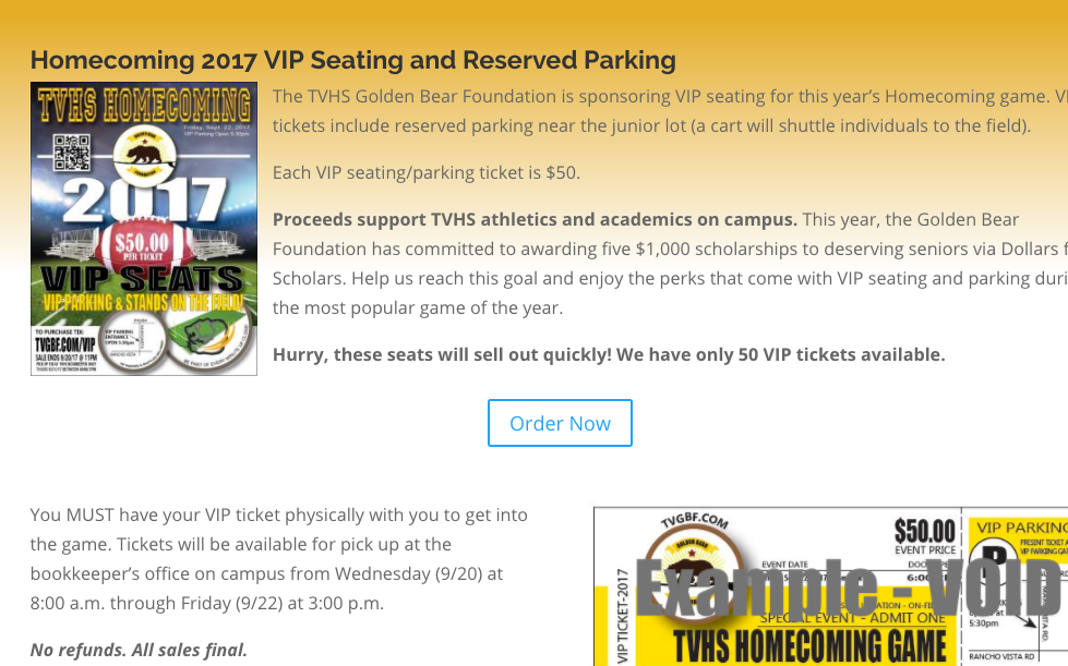 Homecoming VIP Seating and Parking